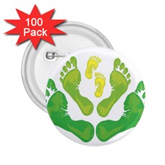 Soles Feet Green Yellow Family 2 25  Buttons (100 Pack)  by Alisyart