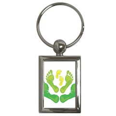 Soles Feet Green Yellow Family Key Chains (rectangle)  by Alisyart