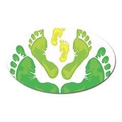 Soles Feet Green Yellow Family Oval Magnet