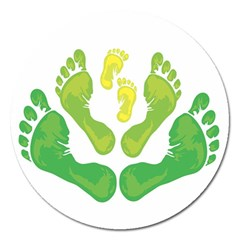 Soles Feet Green Yellow Family Magnet 5  (round) by Alisyart