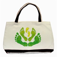 Soles Feet Green Yellow Family Basic Tote Bag by Alisyart