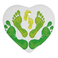 Soles Feet Green Yellow Family Heart Ornament (two Sides) by Alisyart