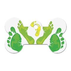Soles Feet Green Yellow Family Dog Tag Bone (two Sides) by Alisyart