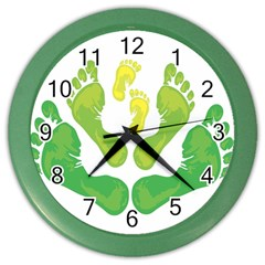 Soles Feet Green Yellow Family Color Wall Clocks