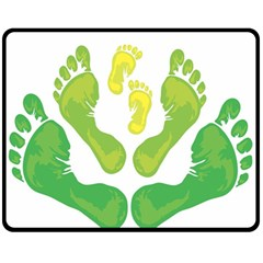 Soles Feet Green Yellow Family Fleece Blanket (medium)