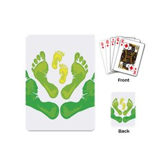 Soles Feet Green Yellow Family Playing Cards (mini)  by Alisyart