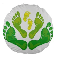 Soles Feet Green Yellow Family Large 18  Premium Round Cushions