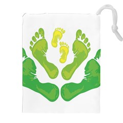 Soles Feet Green Yellow Family Drawstring Pouches (xxl)