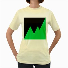 Soaring Mountains Nexus Black Green Women s Yellow T Shirt by Alisyart