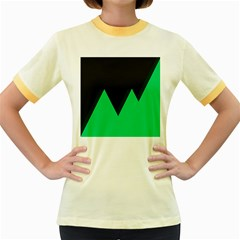 Soaring Mountains Nexus Black Green Women s Fitted Ringer T Shirts by Alisyart