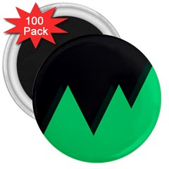 Soaring Mountains Nexus Black Green 3  Magnets (100 Pack) by Alisyart