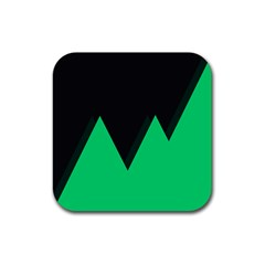 Soaring Mountains Nexus Black Green Rubber Square Coaster (4 Pack)  by Alisyart