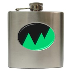 Soaring Mountains Nexus Black Green Hip Flask (6 Oz) by Alisyart