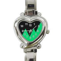 Soaring Mountains Nexus Black Green Heart Italian Charm Watch by Alisyart