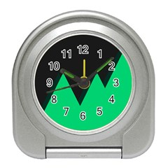 Soaring Mountains Nexus Black Green Travel Alarm Clocks by Alisyart