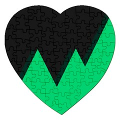 Soaring Mountains Nexus Black Green Jigsaw Puzzle (heart) by Alisyart