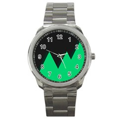 Soaring Mountains Nexus Black Green Sport Metal Watch by Alisyart