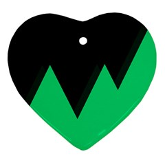 Soaring Mountains Nexus Black Green Heart Ornament (two Sides) by Alisyart