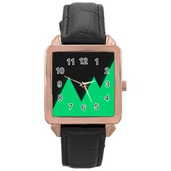Soaring Mountains Nexus Black Green Rose Gold Leather Watch  by Alisyart