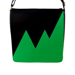 Soaring Mountains Nexus Black Green Flap Messenger Bag (l)  by Alisyart