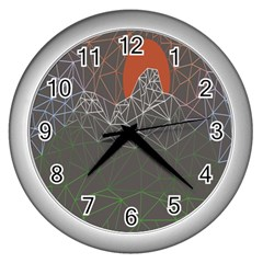 Sun Line Lighs Nets Green Orange Geometric Mountains Wall Clocks (silver)  by Alisyart