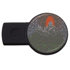 Sun Line Lighs Nets Green Orange Geometric Mountains Usb Flash Drive Round (4 Gb)