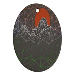 Sun Line Lighs Nets Green Orange Geometric Mountains Oval Ornament (two Sides) by Alisyart
