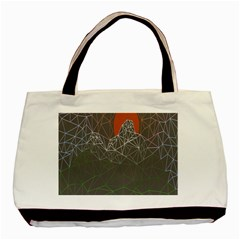 Sun Line Lighs Nets Green Orange Geometric Mountains Basic Tote Bag (two Sides) by Alisyart