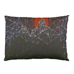 Sun Line Lighs Nets Green Orange Geometric Mountains Pillow Case (two Sides)