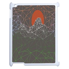 Sun Line Lighs Nets Green Orange Geometric Mountains Apple Ipad 2 Case (white) by Alisyart