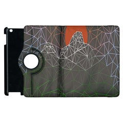 Sun Line Lighs Nets Green Orange Geometric Mountains Apple Ipad 3/4 Flip 360 Case by Alisyart