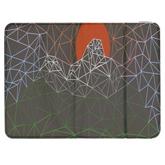 Sun Line Lighs Nets Green Orange Geometric Mountains Samsung Galaxy Tab 7  P1000 Flip Case