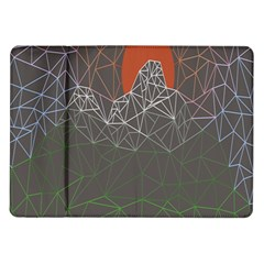 Sun Line Lighs Nets Green Orange Geometric Mountains Samsung Galaxy Tab 10 1  P7500 Flip Case