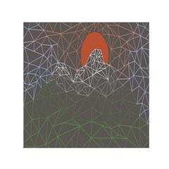 Sun Line Lighs Nets Green Orange Geometric Mountains Small Satin Scarf (square)