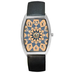 Stellated Regular Dodecagons Center Clock Face Number Star Barrel Style Metal Watch by Alisyart