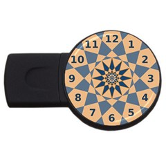 Stellated Regular Dodecagons Center Clock Face Number Star Usb Flash Drive Round (4 Gb) by Alisyart