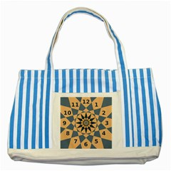 Stellated Regular Dodecagons Center Clock Face Number Star Striped Blue Tote Bag by Alisyart