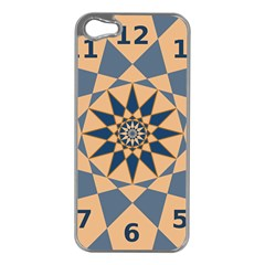 Stellated Regular Dodecagons Center Clock Face Number Star Apple Iphone 5 Case (silver) by Alisyart