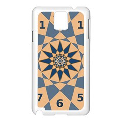 Stellated Regular Dodecagons Center Clock Face Number Star Samsung Galaxy Note 3 N9005 Case (white) by Alisyart