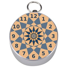 Stellated Regular Dodecagons Center Clock Face Number Star Silver Compasses by Alisyart