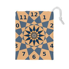 Stellated Regular Dodecagons Center Clock Face Number Star Drawstring Pouches (large)  by Alisyart