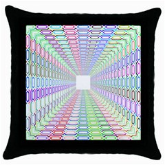 Tunnel With Bright Colors Rainbow Plaid Love Heart Triangle Throw Pillow Case (black)