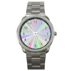 Tunnel With Bright Colors Rainbow Plaid Love Heart Triangle Sport Metal Watch by Alisyart