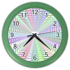 Tunnel With Bright Colors Rainbow Plaid Love Heart Triangle Color Wall Clocks by Alisyart