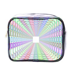 Tunnel With Bright Colors Rainbow Plaid Love Heart Triangle Mini Toiletries Bags by Alisyart