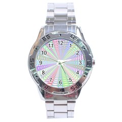 Tunnel With Bright Colors Rainbow Plaid Love Heart Triangle Stainless Steel Analogue Watch by Alisyart