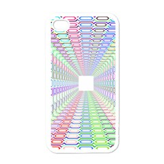 Tunnel With Bright Colors Rainbow Plaid Love Heart Triangle Apple Iphone 4 Case (white) by Alisyart