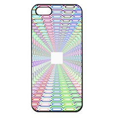 Tunnel With Bright Colors Rainbow Plaid Love Heart Triangle Apple Iphone 5 Seamless Case (black)