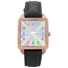 Tunnel With Bright Colors Rainbow Plaid Love Heart Triangle Rose Gold Leather Watch  by Alisyart