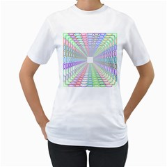 Tunnel With Bright Colors Rainbow Plaid Love Heart Triangle Women s T Shirt (white)  by Alisyart